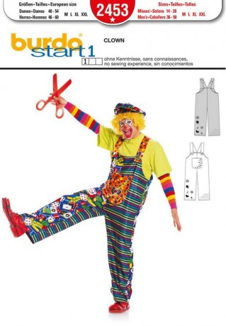 Clown - Trägerhose, Gr. 40 - 60, Schnittmuster Burda 2453
