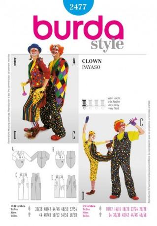 Clown - Hose und Frack (Damen), Gr. 36 - 56, Schnittmuster Burda 2477