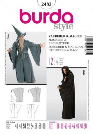 Zauberer, dunkler Magier, Gr. 46 - 60, Schnittmuster Burda 2483