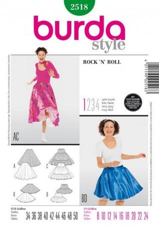 Petticoat 50er und Glockenrock, Gr. 34 - 50, Burda Schnittmuster 2518