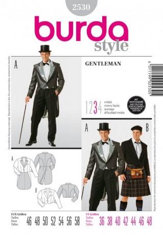 Gentleman Frack und Schotte, Gr. 46 - 58, Schnittmuster Burda 2530