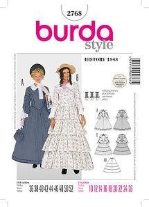 Biedermeier - Kleid mit Reifrock, Gr. 36 - 52, Schnittmuster Burda 2768