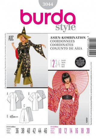 Kimono und Hose, Asia - Kombination, Gr. 36 - 46, Schnittmuster Burda 3044