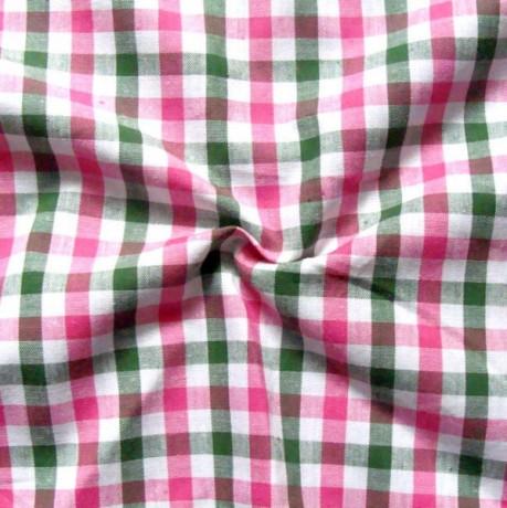Baumwollstoff Hemden Karo Pink-Grün-Weiss