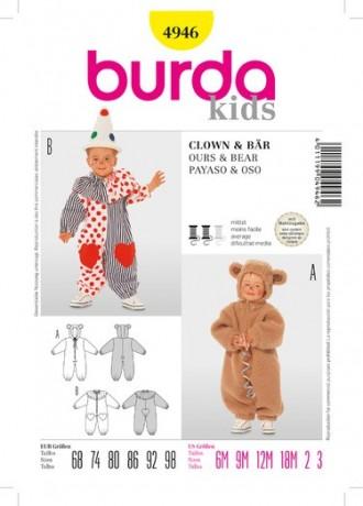 Overall - Kostüm, Bär und Clown, Gr. 68 - 98, Schnittmuster Burda 4946
