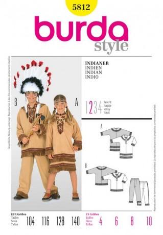 Indianer, Indianerin, Gr. 104 - 140, Schnittmuster Burda 5812