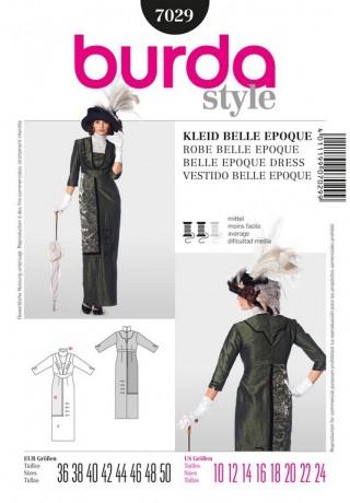 Kleid Belle Epoque, Humpelrock, Gr. 36 - 50, Schnittmuster Burda 7029