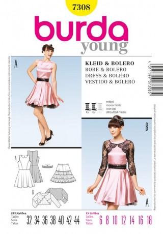 Retro-Kleid, Bolero, Gr. 32 - 44, Schnittmuster Burda 7308