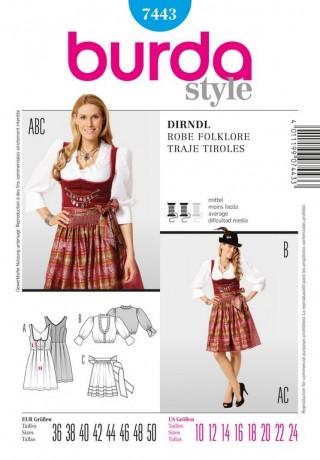 Dirndl, Gr. 36 - 50, Schnittmuster Burda 7443