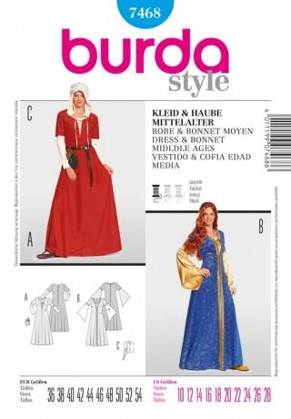 Kleid und Haube - Mittelalter, Gr. 36 - 54, Schnittmuster Burda 7468