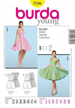 Kleid - 50er Jahre, Tellerrock, Gr. 32 - 44, Schnittmuster Burda 7556