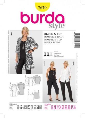 Bluse und Top, Gr. 44 - 60, Schnittmuster Burda 7670
