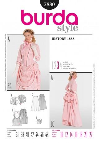Wilhelminisches Kleid - 19. Jahrhundert, Gr. 36 - 48, Schnittmuster Burda 7880