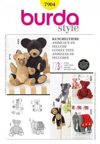 Kuscheltiere - Affe, Bär, Elefant, Schnittmuster Burda 7904