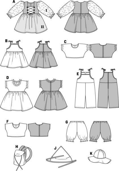 Puppenkleider: Kombination, Gr. 30 - 45 cm, Schnittmuster Burda 8308