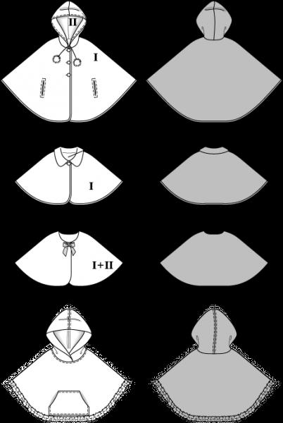 cape poncho mit kapuze und kragen gr 92 116 schnittmuster burda 9475. Black Bedroom Furniture Sets. Home Design Ideas