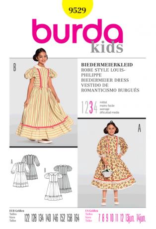 Biedermeierkleid für Kinder, Gr. 122 - 164, Schnittmuster Burda 9529