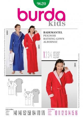 Bademantel - Mädchen und Jungen, Gr. 140 - 176, Schnittmuster Burda 9620