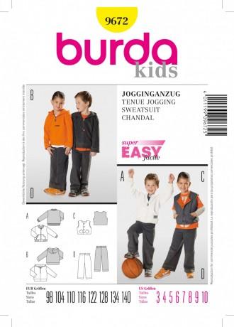 Jogginganzug - Jungen und Mädchen, Gr. 98 - 140, Schnittmuster Burda 9672