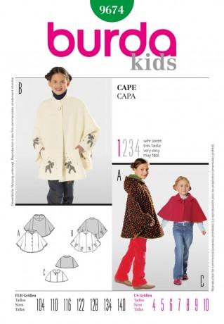 Cape für Kinder, Gr. 104 - 140, Schnittmuster Burda 9674
