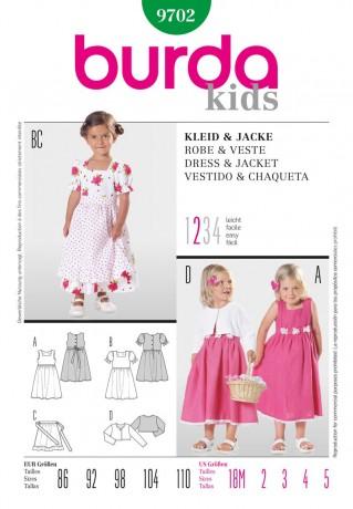 Kleid und Jacke, Gr. 86 - 110, Schnittmuster Burda 9702