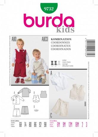 Kombination, Gr. 68 - 98, Schnittmuster Burda 9732