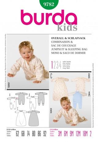 Baby-Overall und Schlafsack, Gr. 62 - 92, Schnittmuster Burda 9782