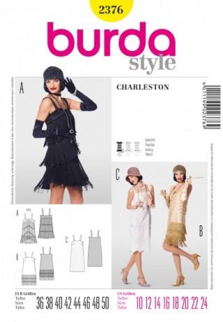 Charleston-Kleid, Gr. 36 - 50, Schnittmuster Burda 2376