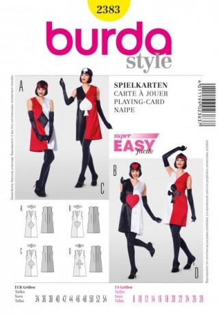 Kleid mit Spielkartenmotiv, Gr. 34 - 54, Schnittmuster Burda 2383