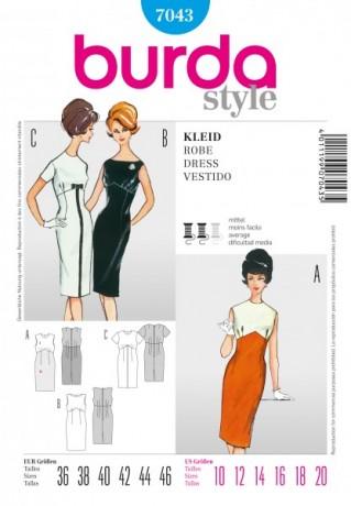 Vintage Kleid, Gr. 36 - 46, Schnittmuster Burda 7043