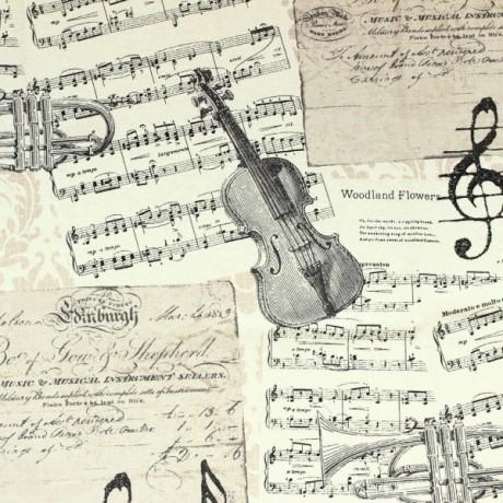 Dekostoff Musik Creme-Weiss