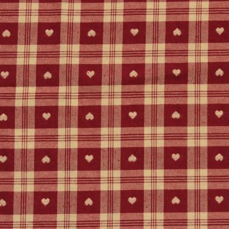 Dekostoff Herzen Rot-Beige