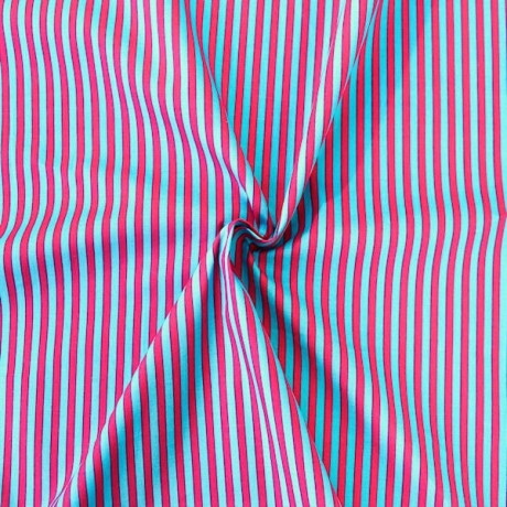 Baumwollstoff Streifen Blau Pink