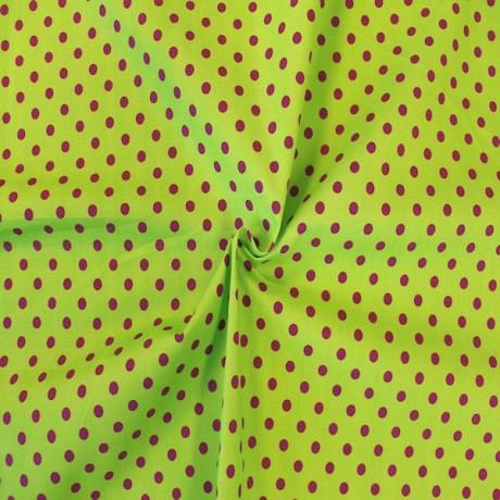 Baumwollstoff Tupfen Lind-Grün Lila