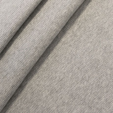 Baumwoll Bündchenstoff Hell-Grau meliert