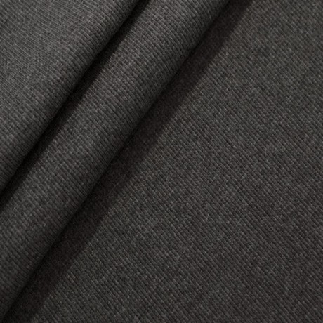 Baumwoll Bündchenstoff Dunkel-Grau meliert