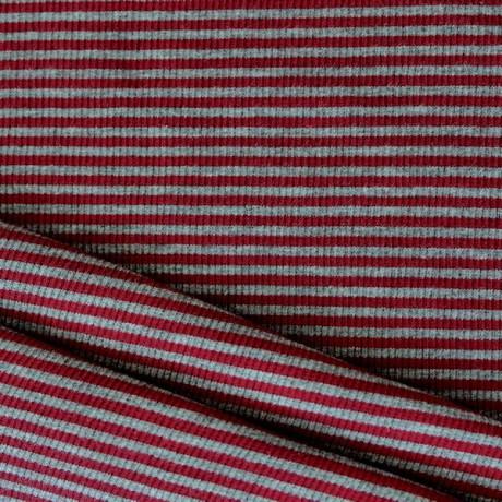 Baumwoll Bündchenstoff Streifen Rot-Grau meliert