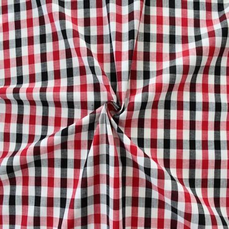 Baumwollstoff Hemden Karo Weiss-Rot-Schwarz