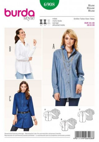Bluse, hemdform, Gr. 34 - 46, Schnittmuster Burda 6908