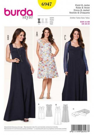 Kleid mit Bolero, Gr. 44 - 60, Schnittmuster Burda 6947