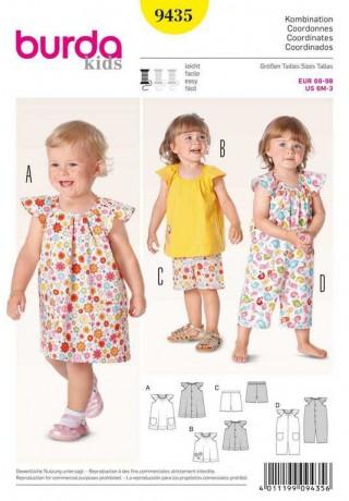 Kleid – Top – Hose – Overall, Gr. 68 - 98, Schnittmuster Burda 9435