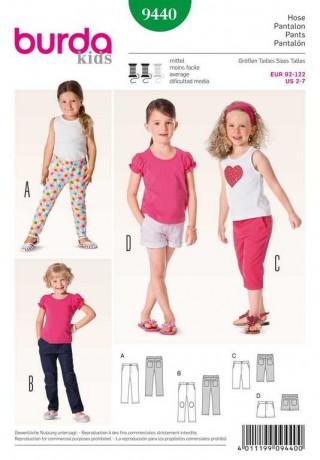 Hose – ¾ Hose – Shorts, Gr. 92 - 122, Schnittmuster Burda 9440