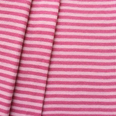 Baumwoll Bündchenstoff Ringel Rosa-Pink