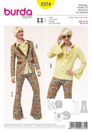 70er Partyanzug – Herren Jacke – Hemd – Schlaghose, Gr. 44 - 54, Schnittmuster Burda 2374