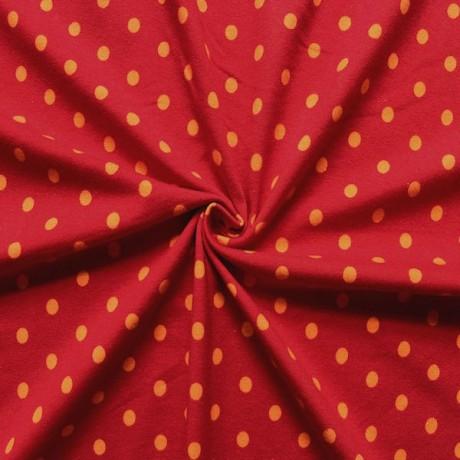 Baumwoll Stretch Jersey Punkte Rot-Orange