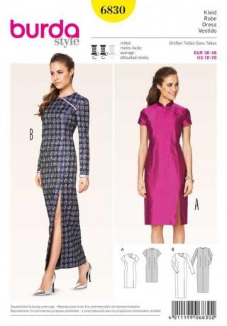 Kleid – Asia-Look – einseitige Passe, Gr. 36 - 46, Schnittmuster Burda 6830