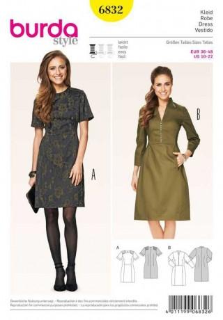 Kleid – Schulterpatches, Gr. 36 - 48, Schnittmuster Burda 6832