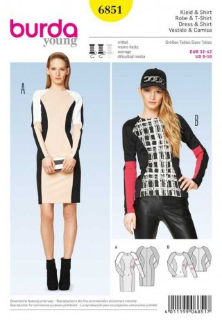 Kleid – Shirt – Colourblocking, Gr. 32 - 42, Schnittmuster Burda 6851