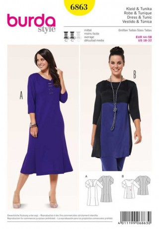 Kleid – Tunika – Colourblocking, Gr. 44 - 58, Schnittmuster Burda 6863