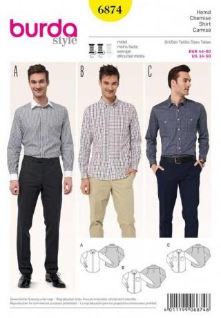 Herrenhemd – verschiedene Kragen, Gr. 44 - 60, Schnittmuster Burda 6874